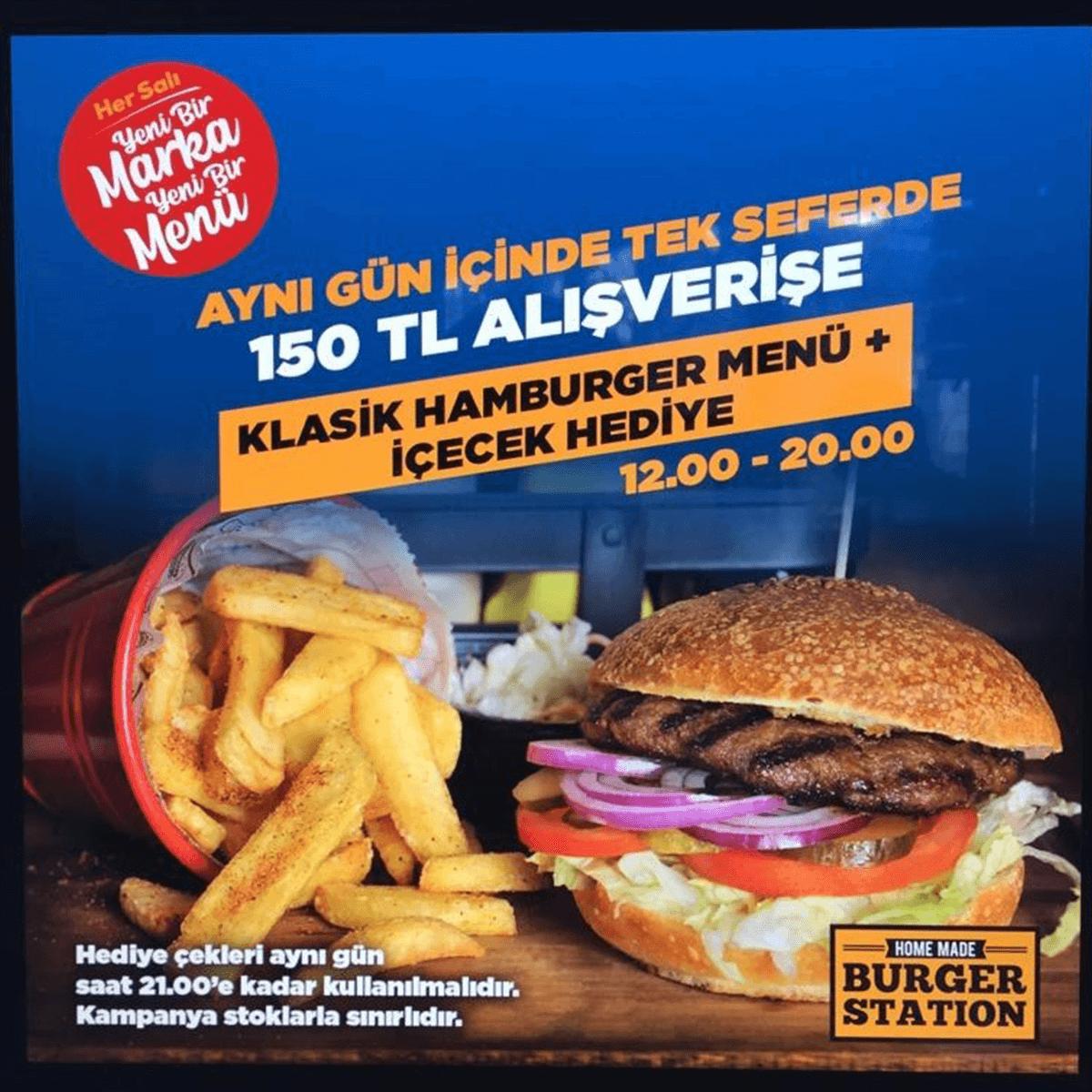 Klasik Hamburger Menü ve İçecek Hediye!